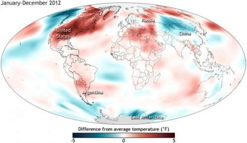 Surface temperatures in 2012