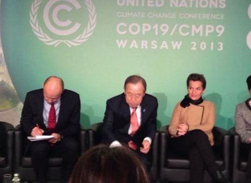 Marcin Korolec, Ban Ki-moon and Christiana Figueres at Warsaw Climate Conference