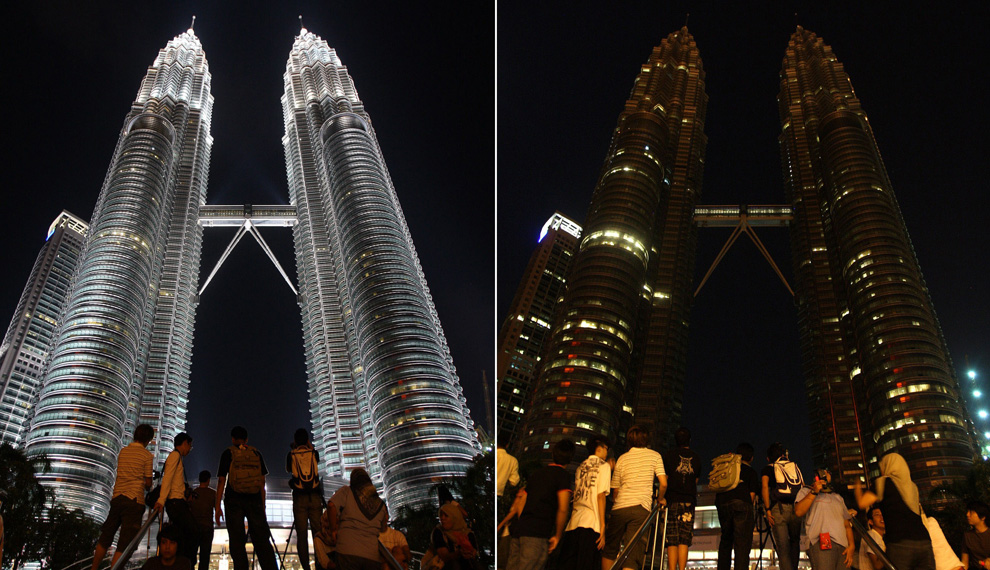 Petronas Towers in Kuala Lumpur before and during Earth Hour