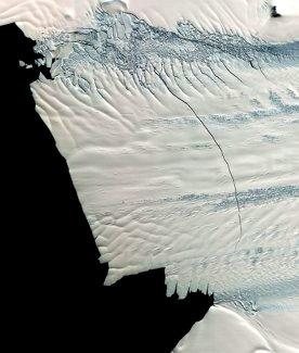 Crack in Pine Island Glacier, Antarctica