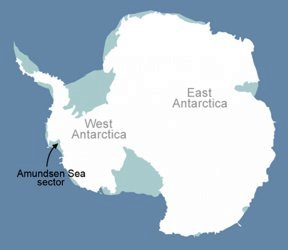 Map of Antarctica showing Amundsen Sea. © NASA