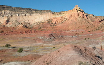 The multi-colored slope-forming rocks of the Chinle Formation at Ghost Ranch, New Mexico. Credit: Randall Irmis