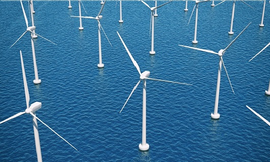 Aerial view of offshore wind turbine farm at sea. Source: GRI.